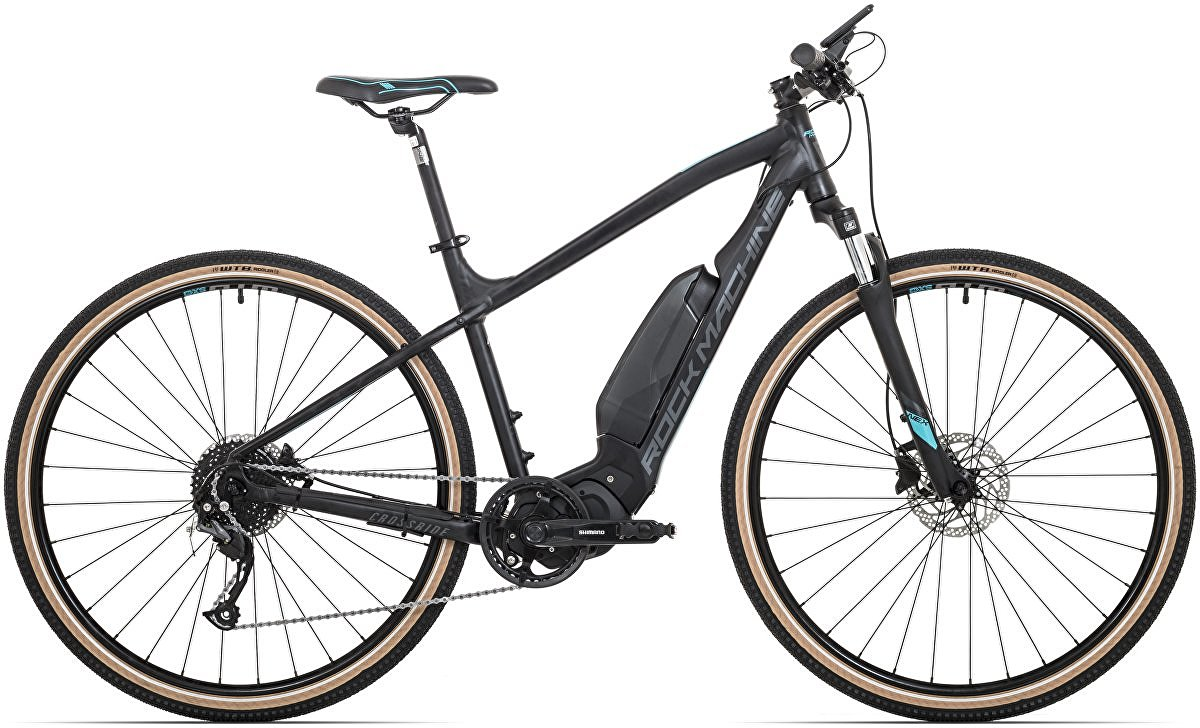 "Rock Machine CrossRide e400 2020 - krosové elektrokolo pánské 29"" - 418 Wh - mat black/petrol blue/dark grey  - vel. 18"" (M)"